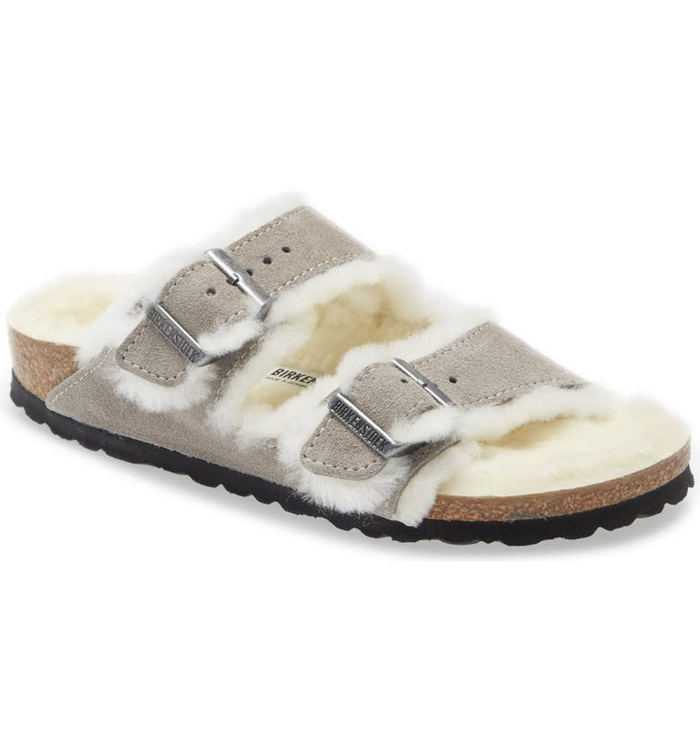 BIRKENSTOCK Arizona Genuine Shearling Slide Sandal, Main, color, STONE COIN SUEDE