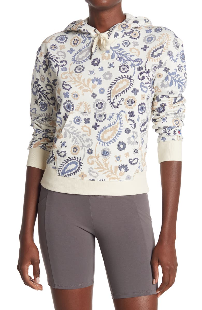 CHAMPION Campus French Terry Watercolor Hoodie, Main, color, CROSS STITCH PAISLEY NEUTRAL