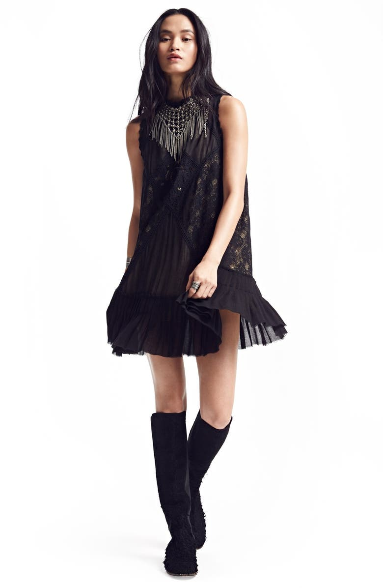 FREE PEOPLE 'Angel' Lace Shift Dress, Main, color, BLACK