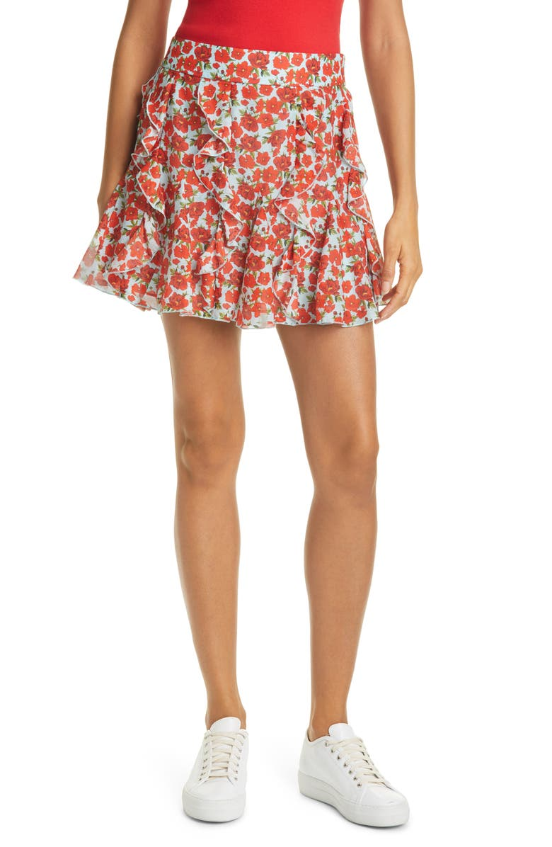 ALICE + OLIVIA Sherley Floral Ruffle Godet Cotton & Silk Miniskirt, Main, color, FORGET ME NOT BRIGHT POPPY