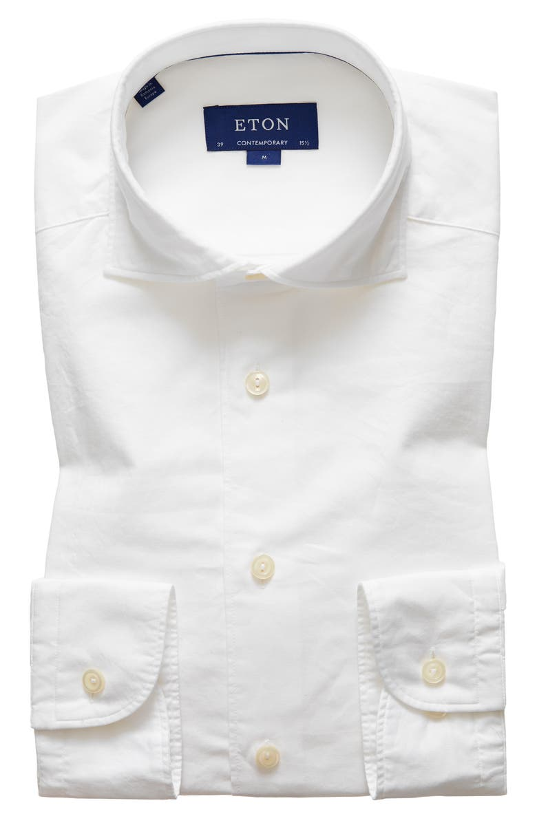 ETON Soft Casual Contemporary Fit Solid Cotton & Silk Shirt, Main, color, White