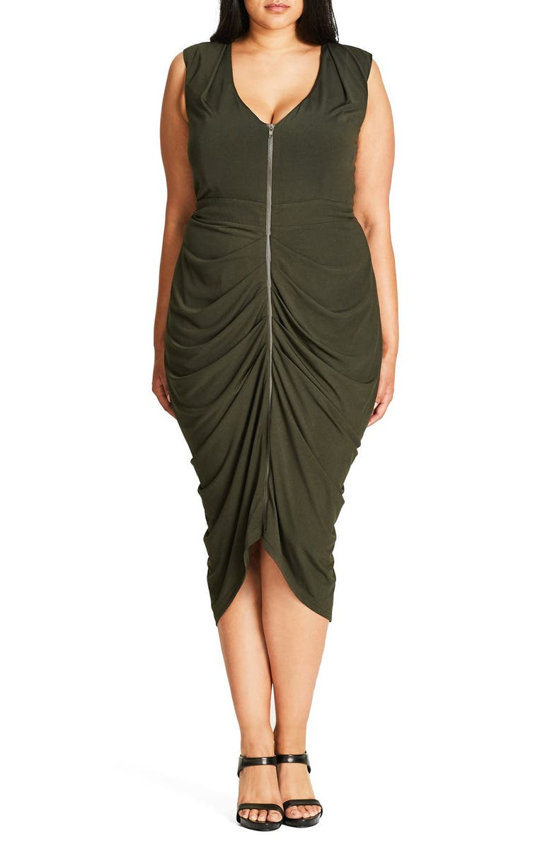 CITY CHIC Sexy Drape Midi Dress, Main, color, 311