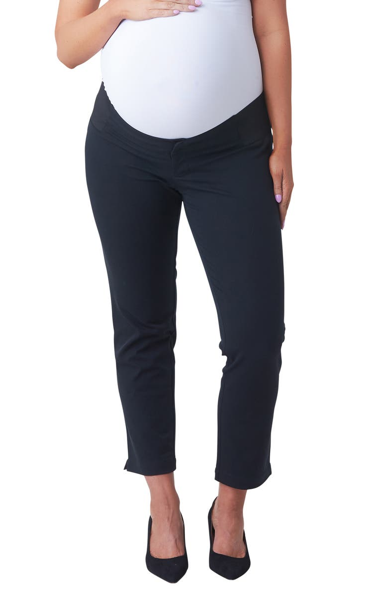 NOM MATERNITY Ava Crop Maternity Pants, Main, color, BLACK