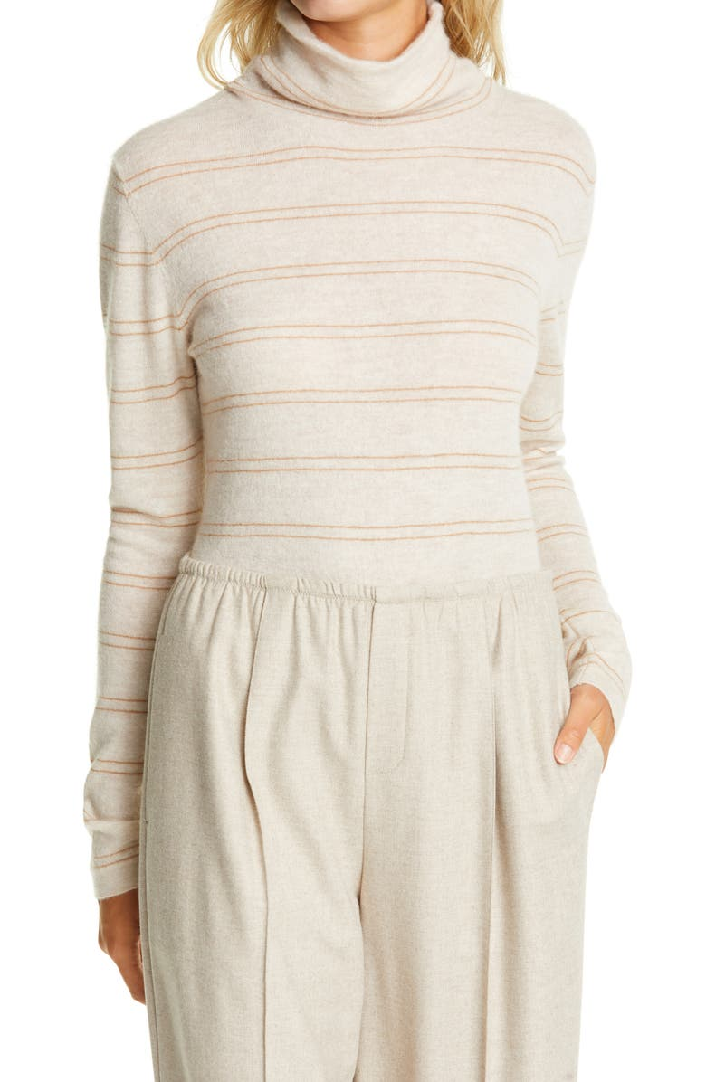 VINCE Stripe Fitted Cashmere Turtleneck Sweater, Main, color, HEATHER DOVE OAT/ AMBER