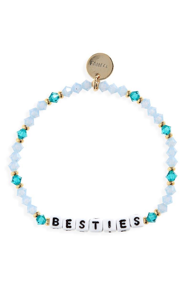 LITTLE WORDS PROJECT Besties Beaded Stretch Bracelet, Main, color, BLUE/ WHITE