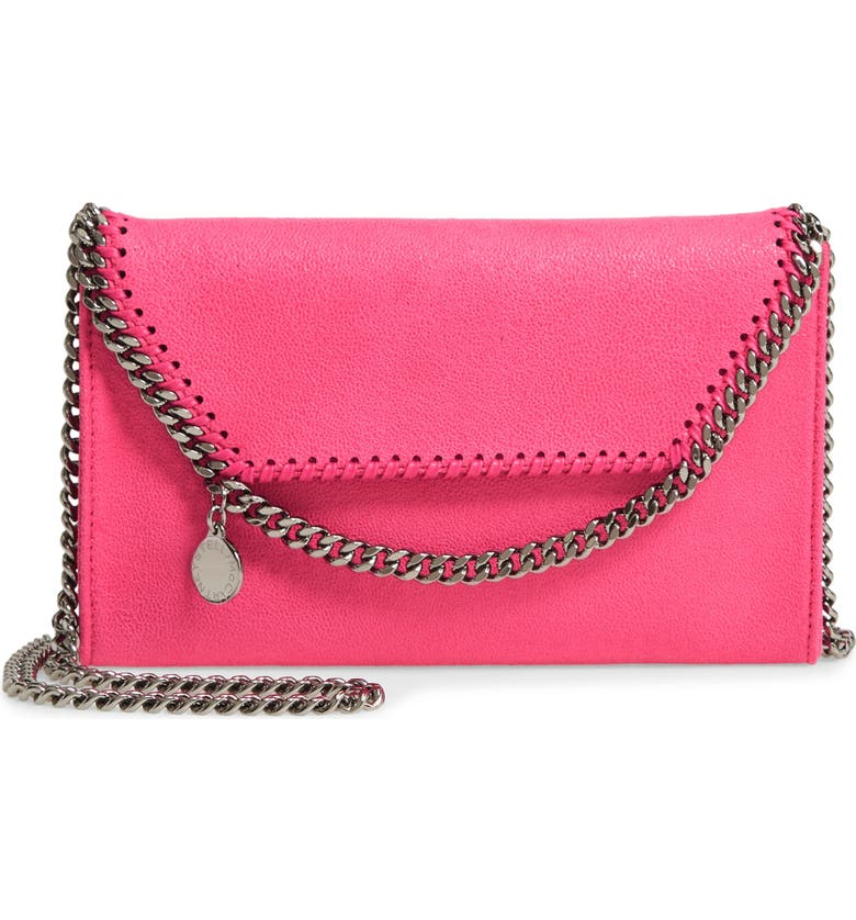 STELLA MCCARTNEY Mini Falabella Shaggy Dear Faux Leather Crossbody Bag, Main, color, FLUO PINK