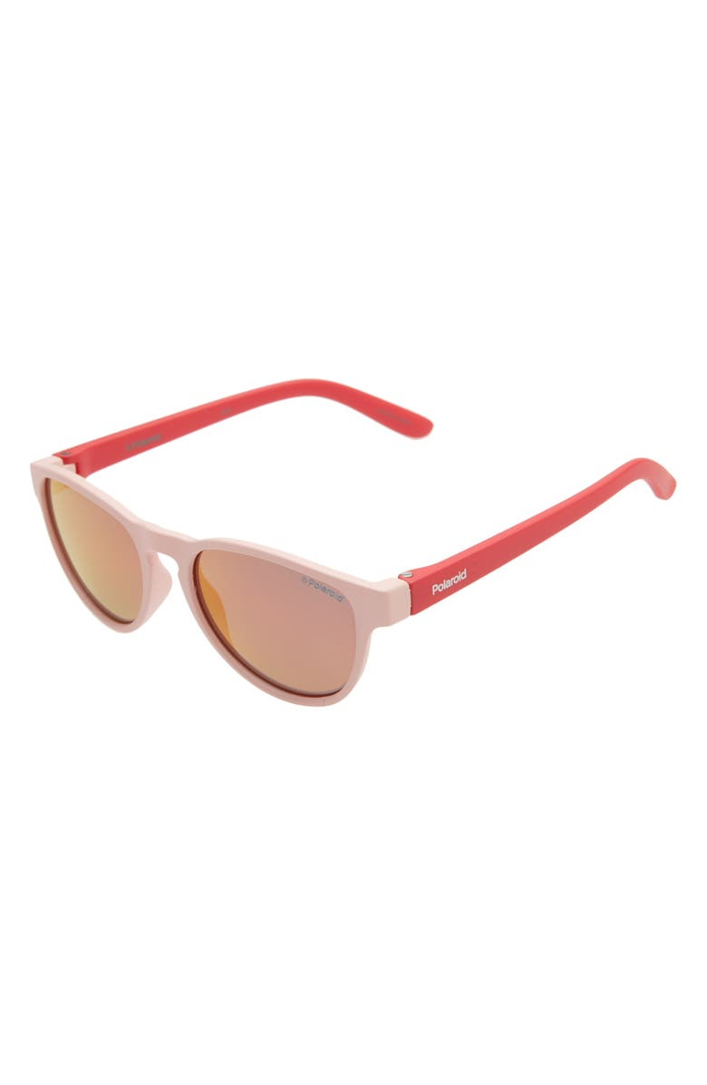 POLAROID 42mm Polarized Round Sunglasses, Main, color, PINK RED/ RED MIRROR POLARIZED