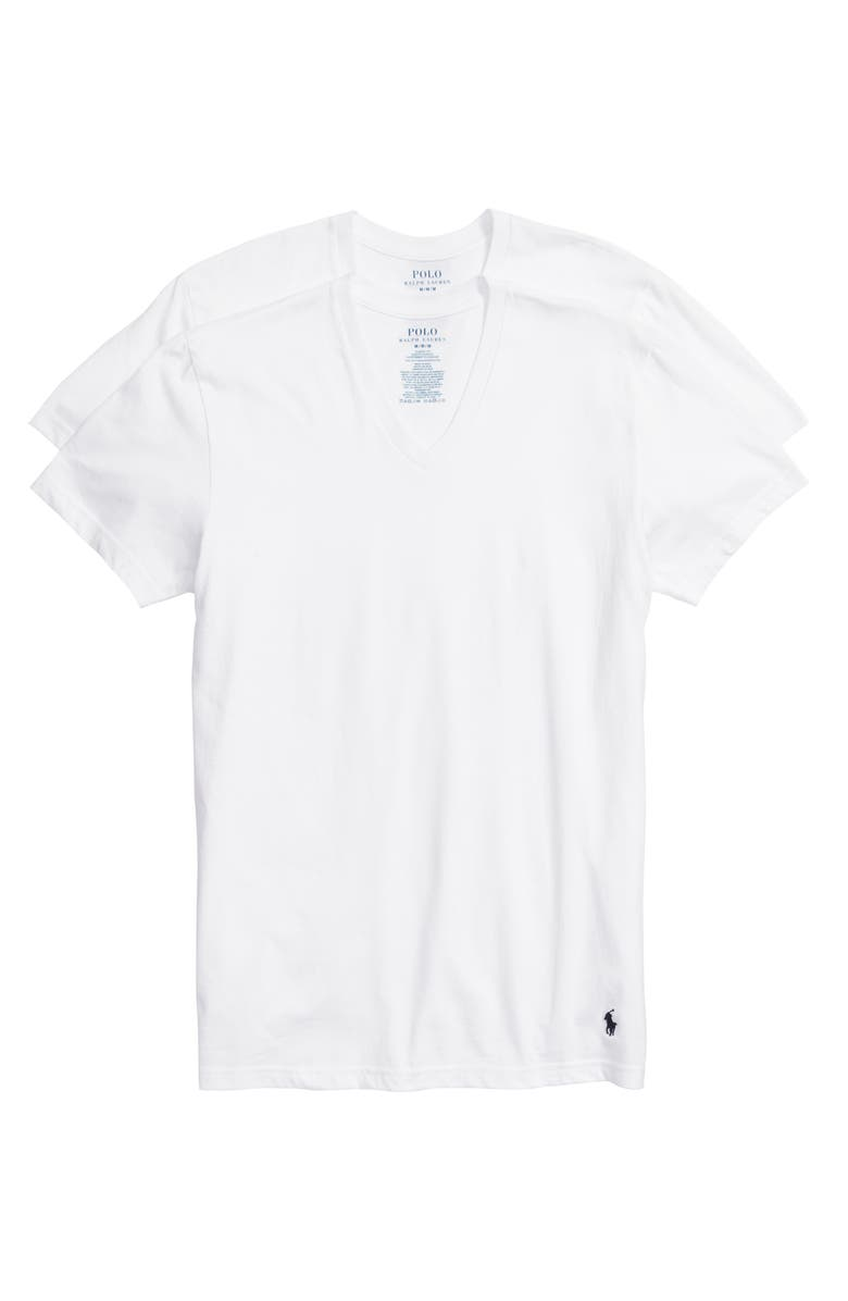POLO RALPH LAUREN 3-Pack V-Neck T-Shirts, Main, color, White