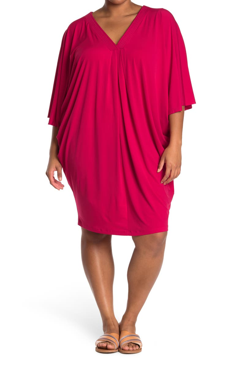 LONDON TIMES Solid V-Neck Jersey Caftan Dress, Main, color, RED
