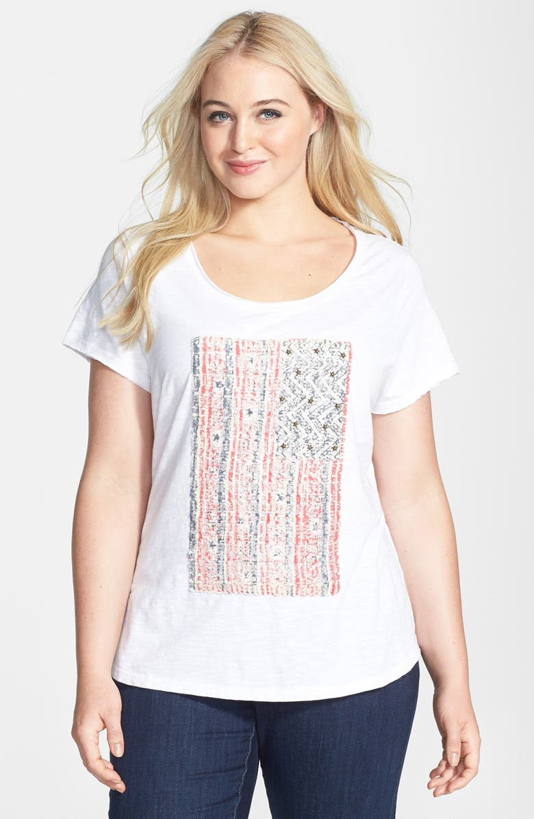 LUCKY BRAND Embellished Flag Tee, Main, color, LUCKY WHITE