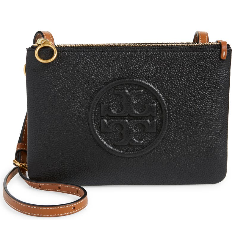 TORY BURCH Perry Bombe Double Zip Crossbody Bag, Main, color, BLACK