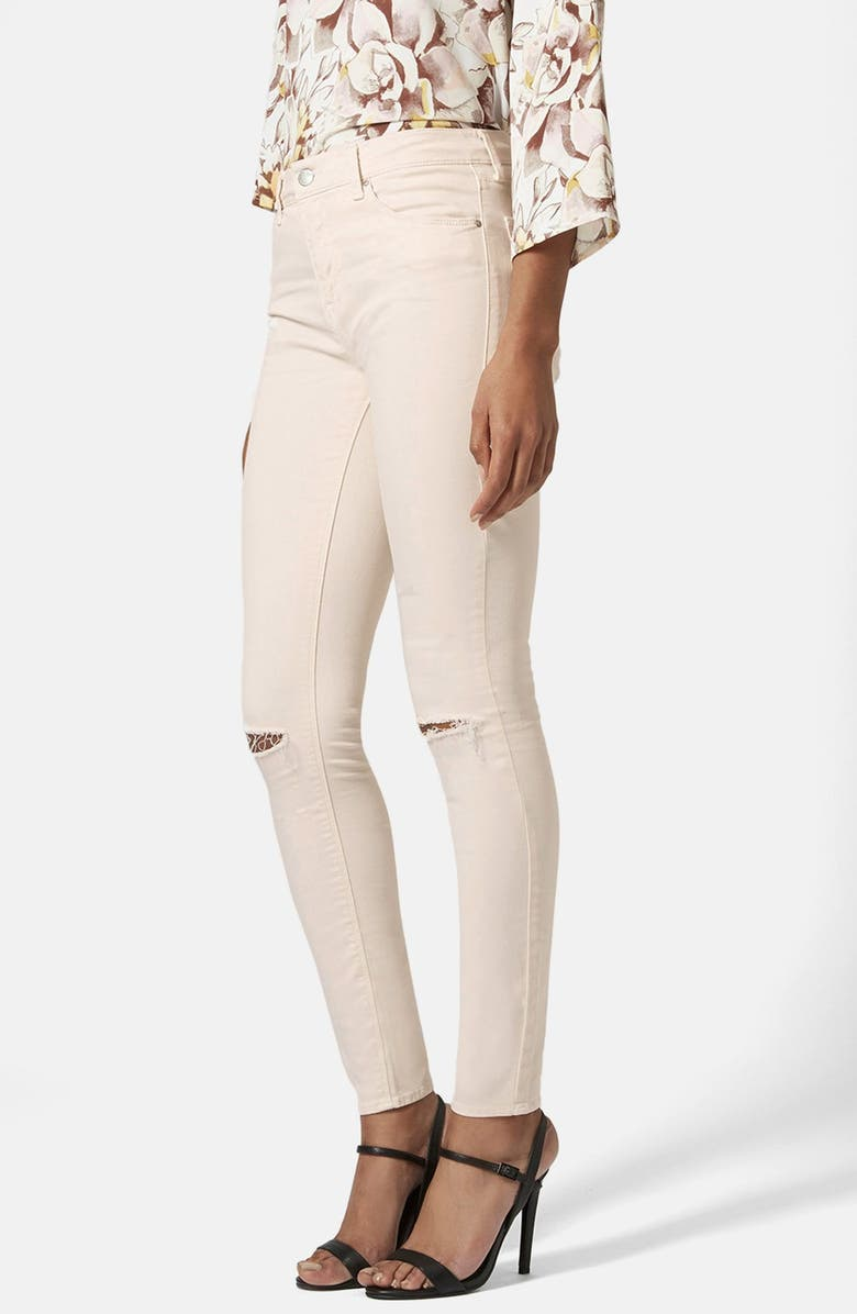 TOPSHOP Moto 'Leigh' Ripped Mid Rise Skinny Jeans, Main, color, 100