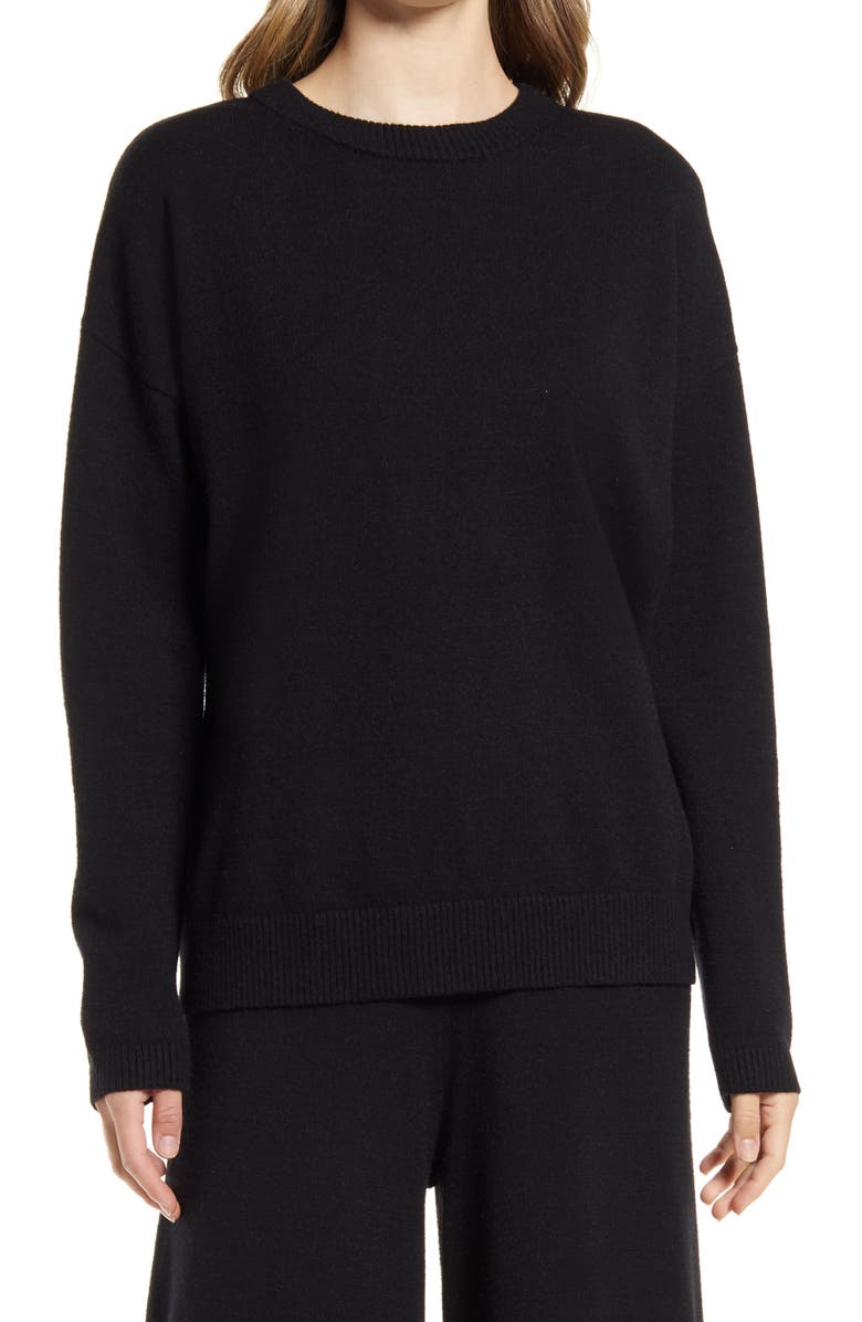 NORDSTROM Relaxed Crewneck Sweater, Main, color, BLACK