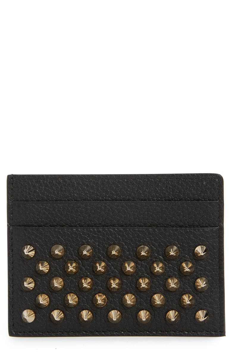 CHRISTIAN LOUBOUTIN Empire Spikes Calfskin Leather Card Case, Main, color, BLACK/ GOLD