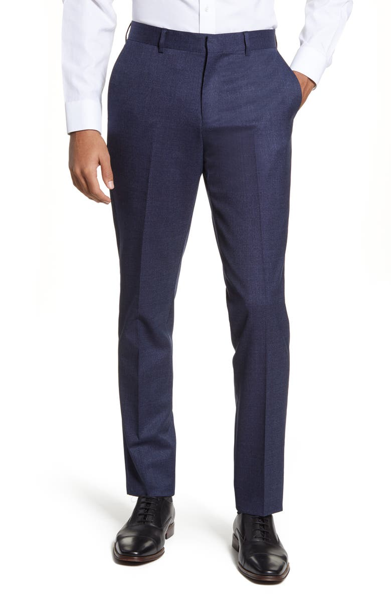 NORDSTROM Flat Front Solid Stretch Wool Dress Pants, Main, color, 420