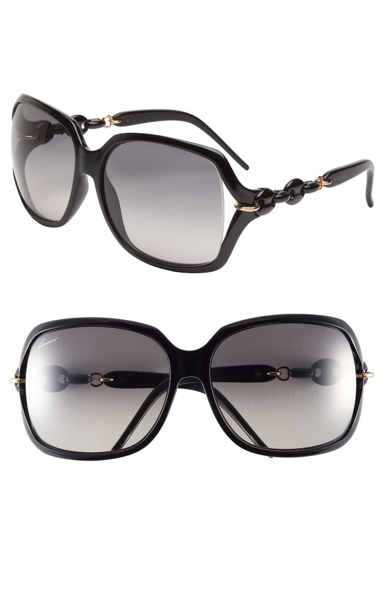 GUCCI 'Marina Chain' 59mm Oversized Sunglasses, Main, color, 001