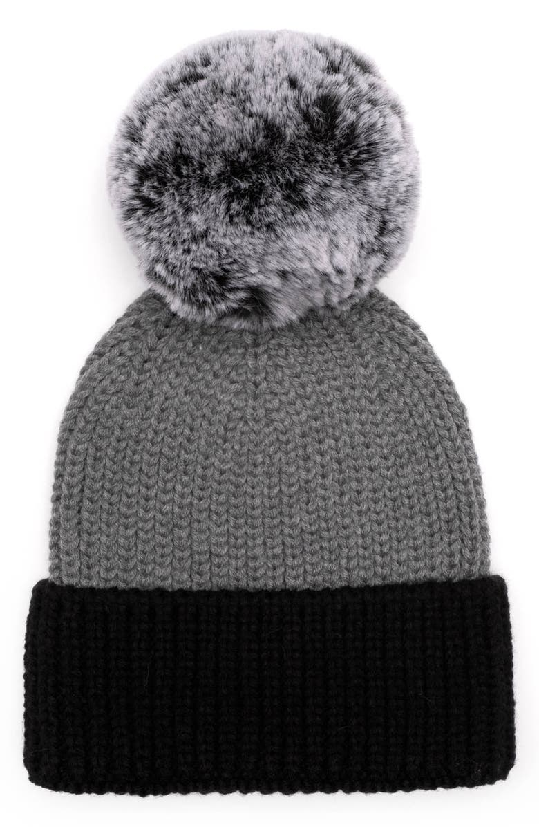 EUGENIA KIM Myrna Colorblock Beanie with Faux Fur Pm, Main, color, 040