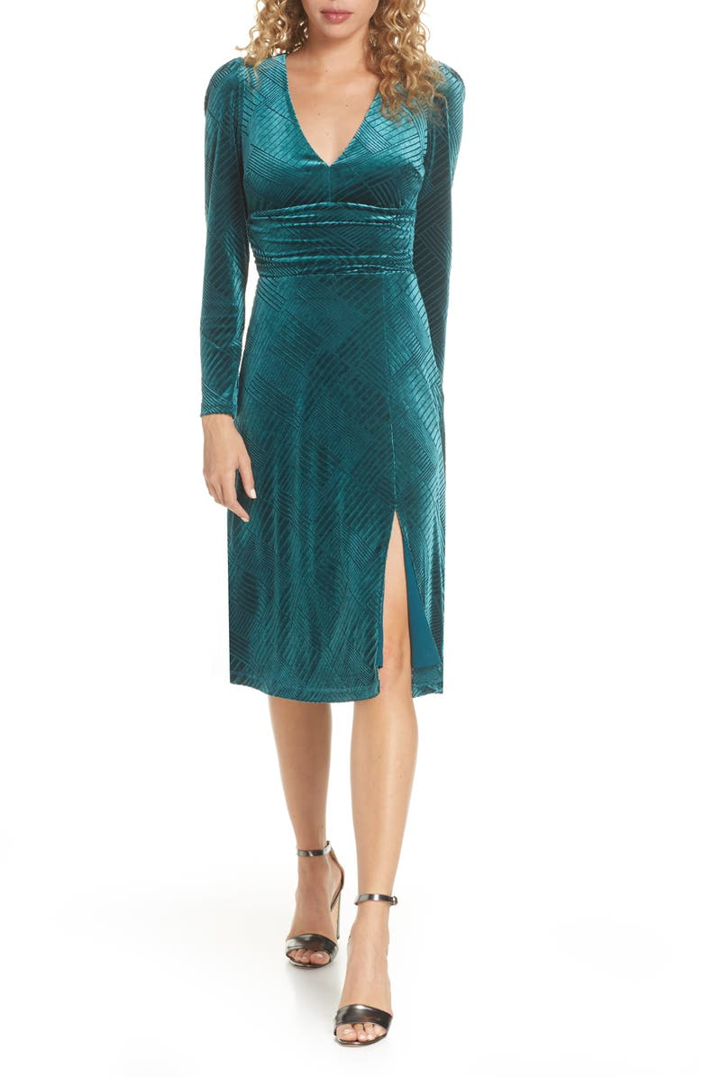 ALI & JAY I'm Nominated Long Sleeve Velvet Dress, Main, color, 300