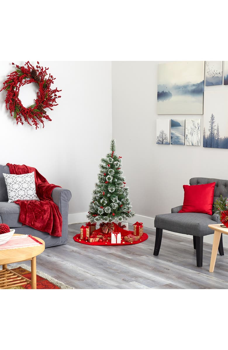 NEARLY NATURAL 4ft. Frosted Swiss Pine Artificial Christmas Tree, Main, color, GREEN