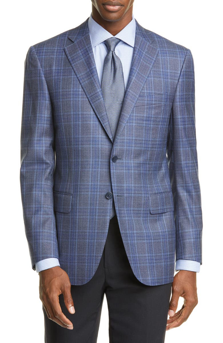 CANALI Sienna Soft Classic Fit Plaid Wool Sport Coat, Main, color, 020
