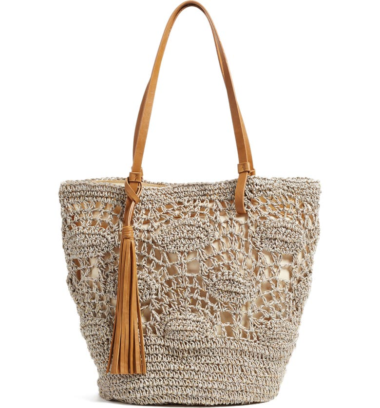 NORDSTROM Crochet Straw Tote, Main, color, 030