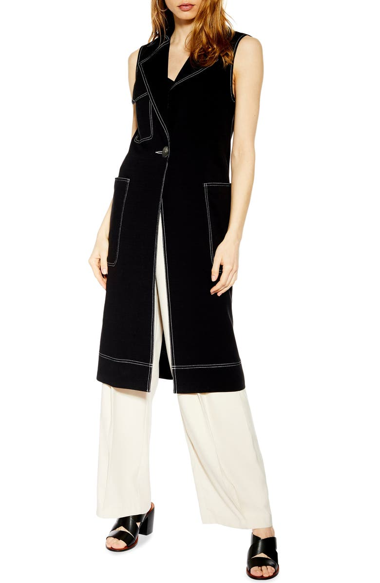 TOPSHOP Sleeveless Utility Duster Coat, Main, color, 001