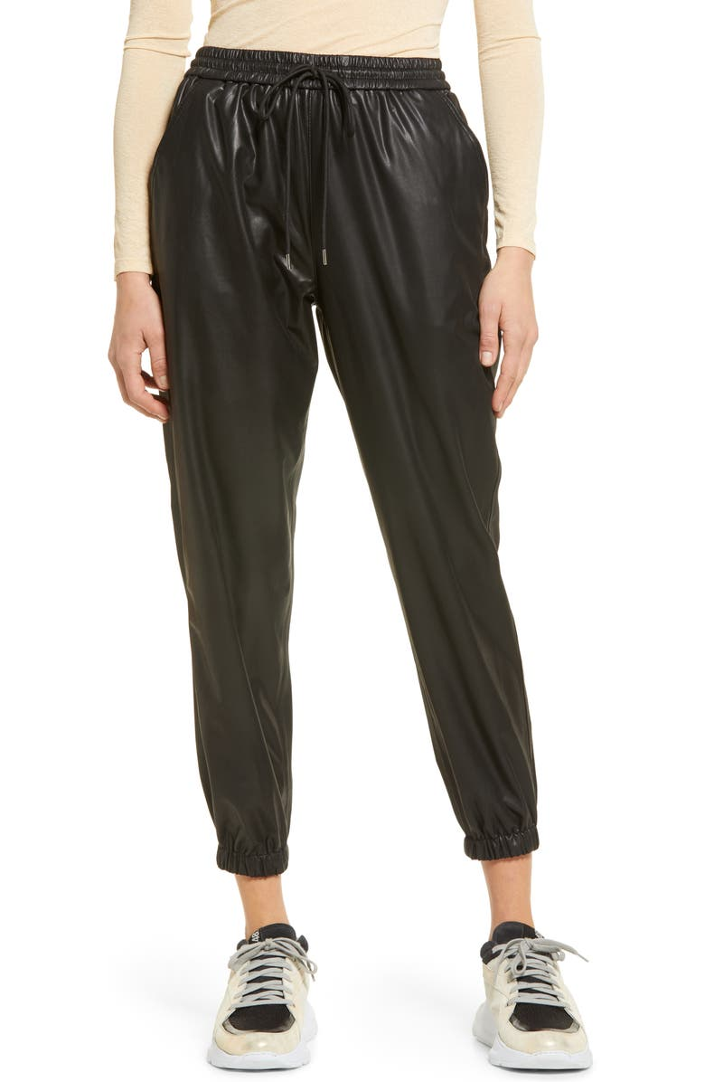 BLANKNYC Faux Leather Joggers, Main, color, EASTSIDE VIBES