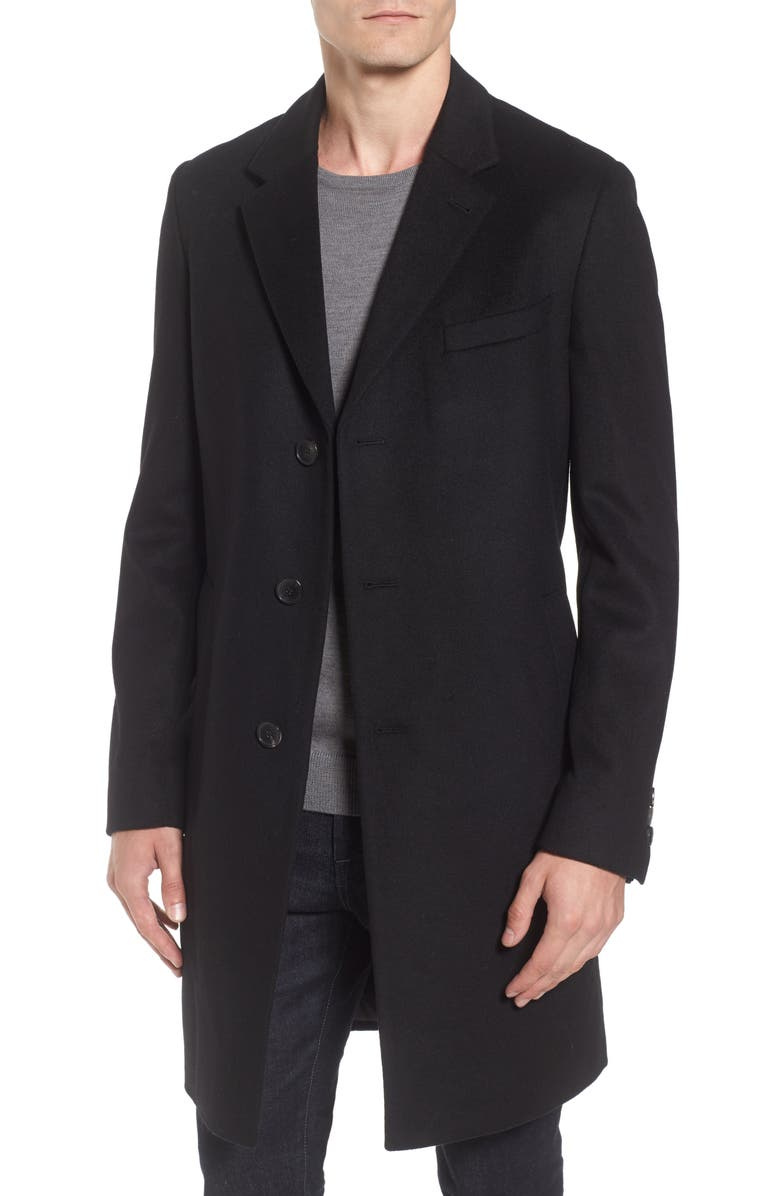 BOSS Nye Wool & Cashmere Topcoat, Main, color, 001