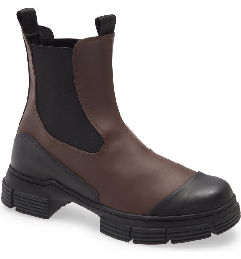 GANNI Waterproof Recycled Rubber City Boot, Main, color, CHICORY COFFEE