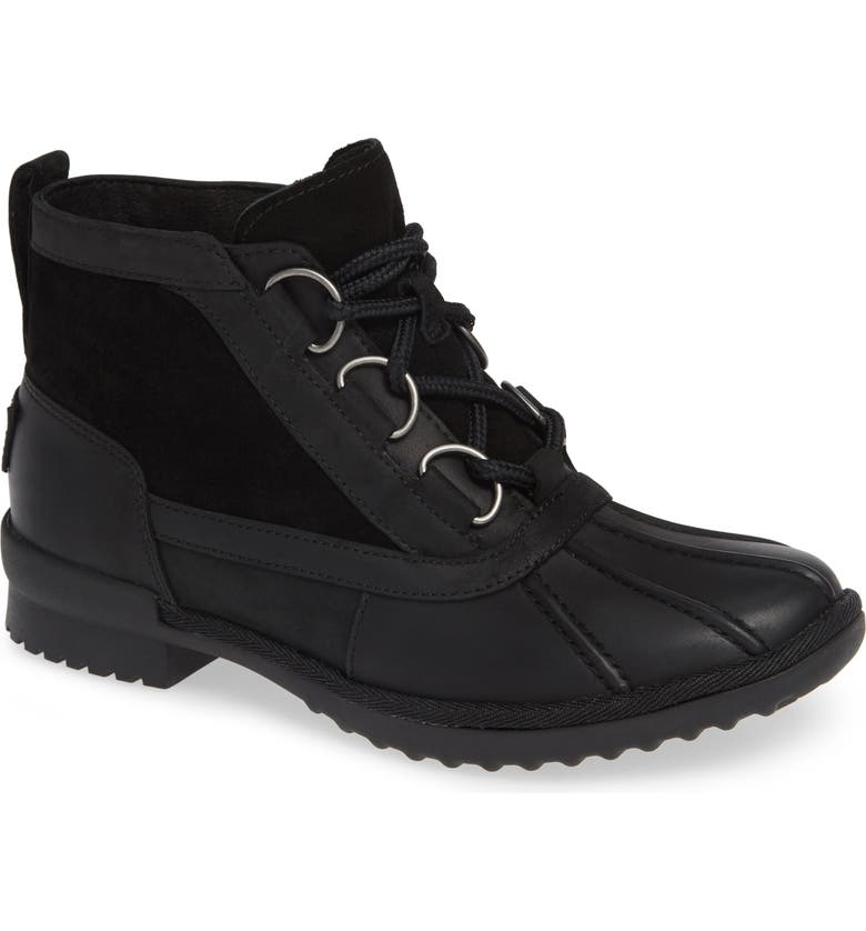 UGG<SUP>®</SUP> Heather Waterproof Lace-Up Bootie, Main, color, 001
