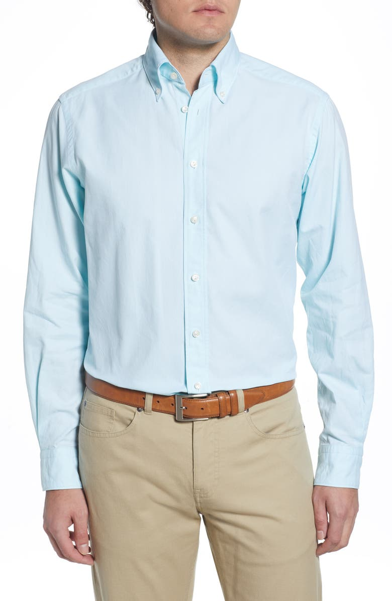 ETON Soft Casual Line Contemporary Fit Oxford Casual Shirt, Main, color, GREEN