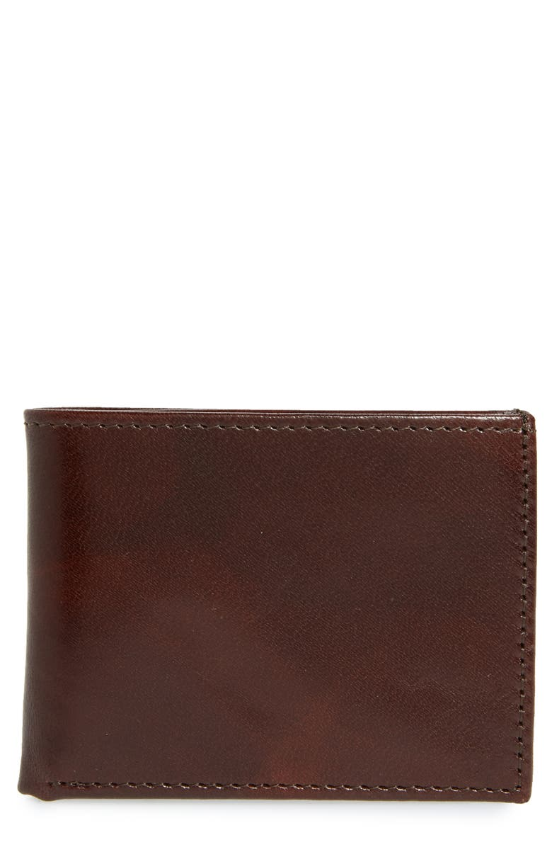 JOHNSTON & MURPHY Leather Wallet, Main, color, BROWN