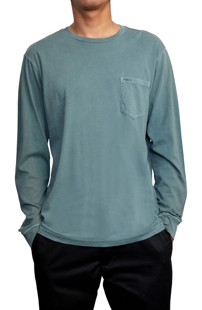 RVCA Pigment Dyed Long Sleeve Pocket T-Shirt, Main, color, BALSAM GREEN