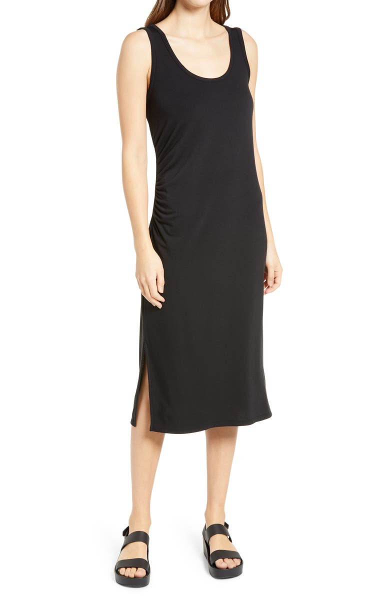CASLON<SUP>®</SUP> Side Ruched Midi Tank Dress, Main, color, BLACK