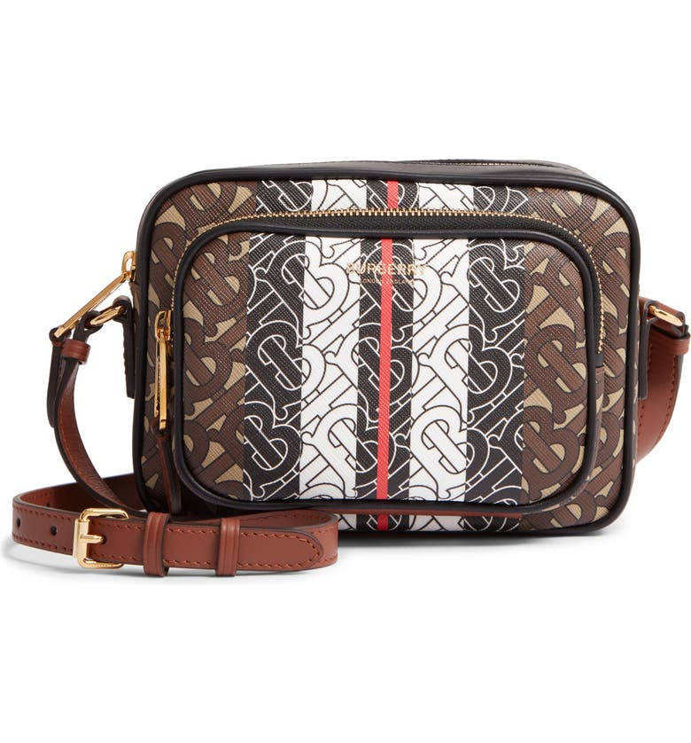BURBERRY Monogram Stripe E-Canvas Camera Bag, Main, color, BRIDLE BROWN IP PTTN