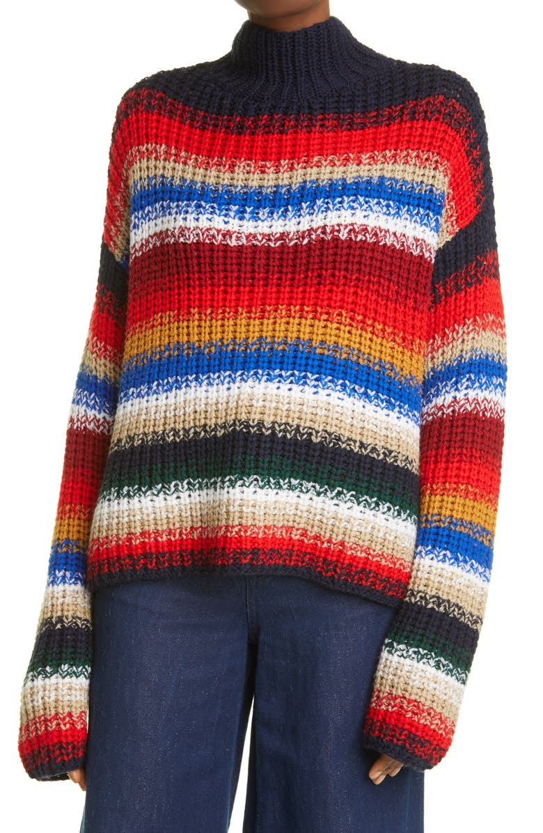 LA LIGNE Stripe Wool Sweater, Main, color, MULTI-COLOR