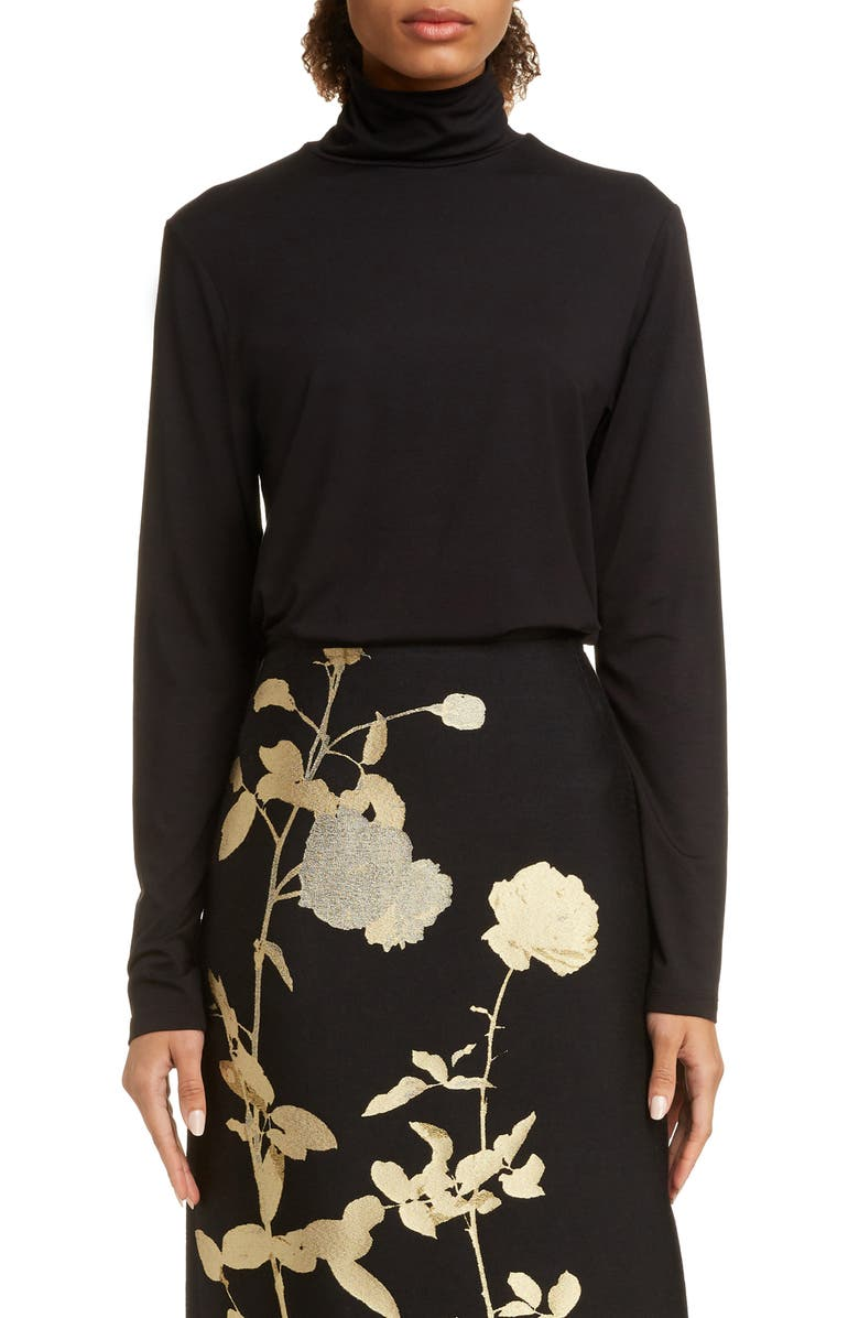 DRIES VAN NOTEN Haskol Turtleneck Top, Main, color, 001