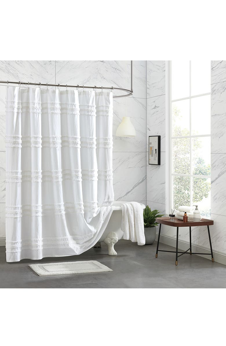 DKNY Chenille Stripe Shower Curtain, Main, color, WHITE