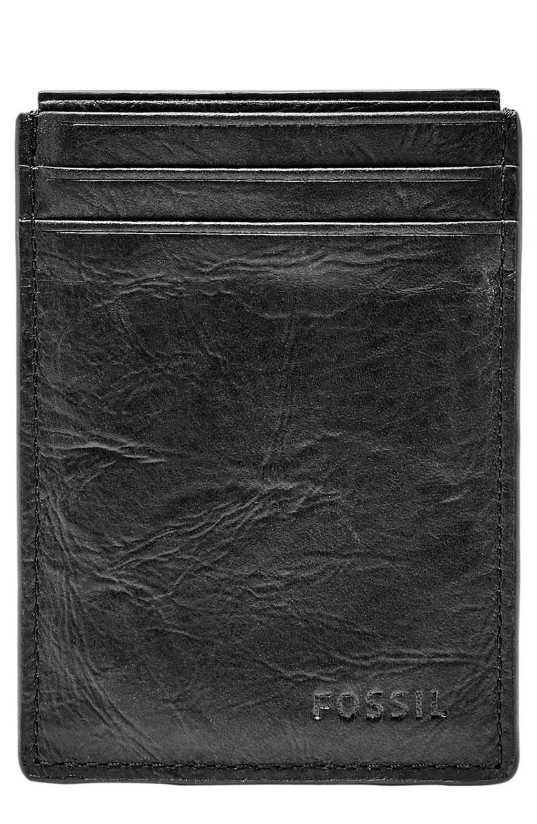 FOSSIL Neel Magnetic Leather Money Clip Card Case, Main, color, 001