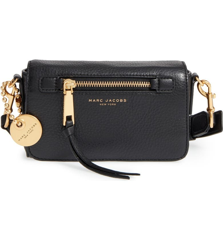 MARC JACOBS 'Recruit' Leather Crossbody Bag, Main, color, 001