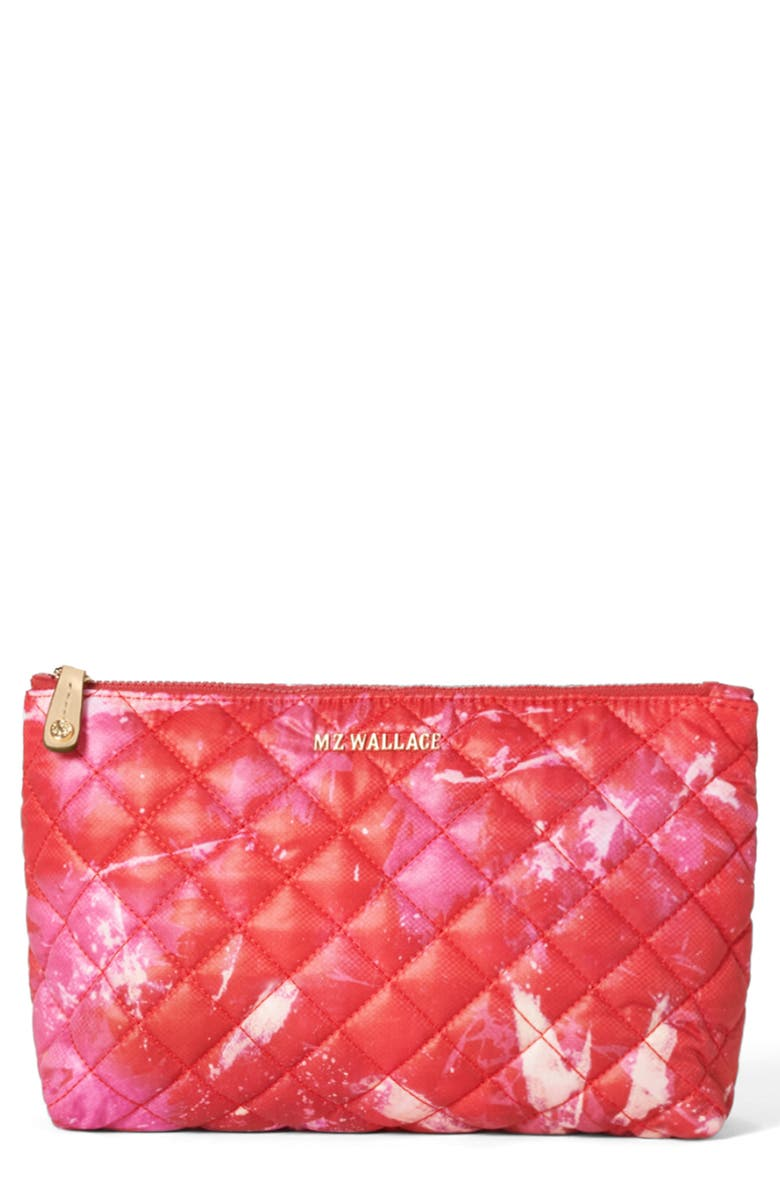 MZ WALLACE Zoey Quilted Nylon Cosmetics Case, Main, color, MAGENTA ACID