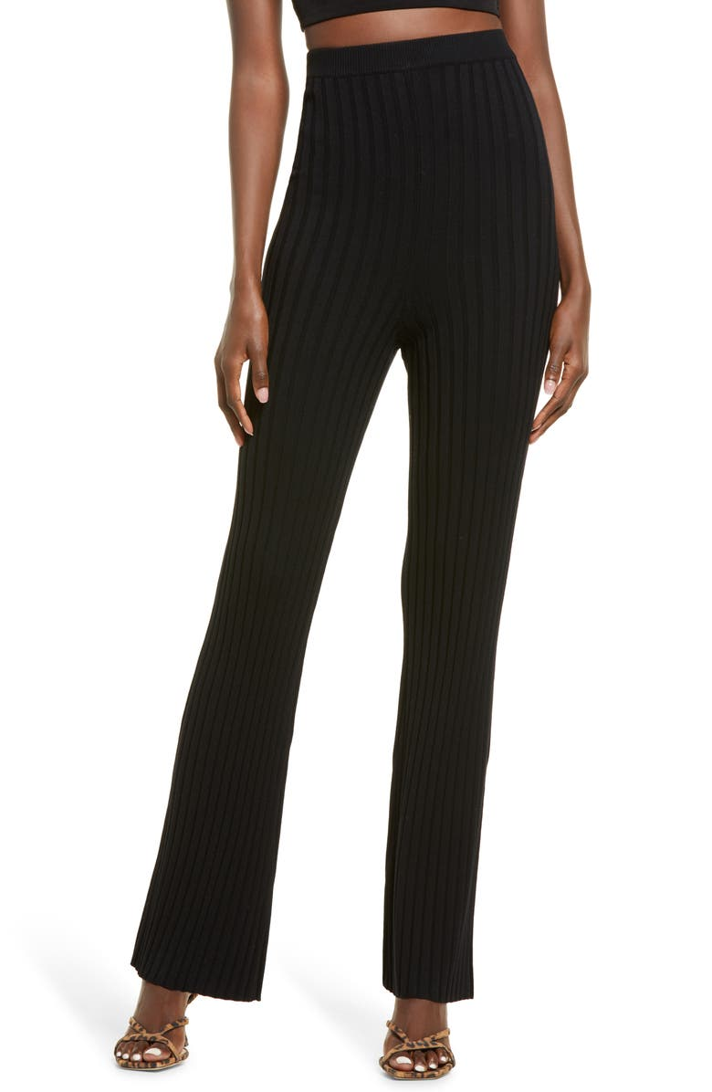 OPEN EDIT Ribbed High Waist Sweater Pants, Main, color, BLACK