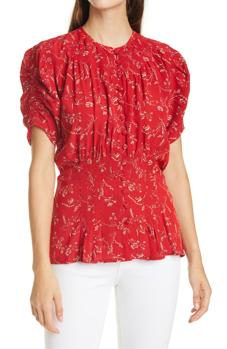 POLO RALPH LAUREN Print Smocked Peplum Blouse, Main, color, TENDER RED FLORAL