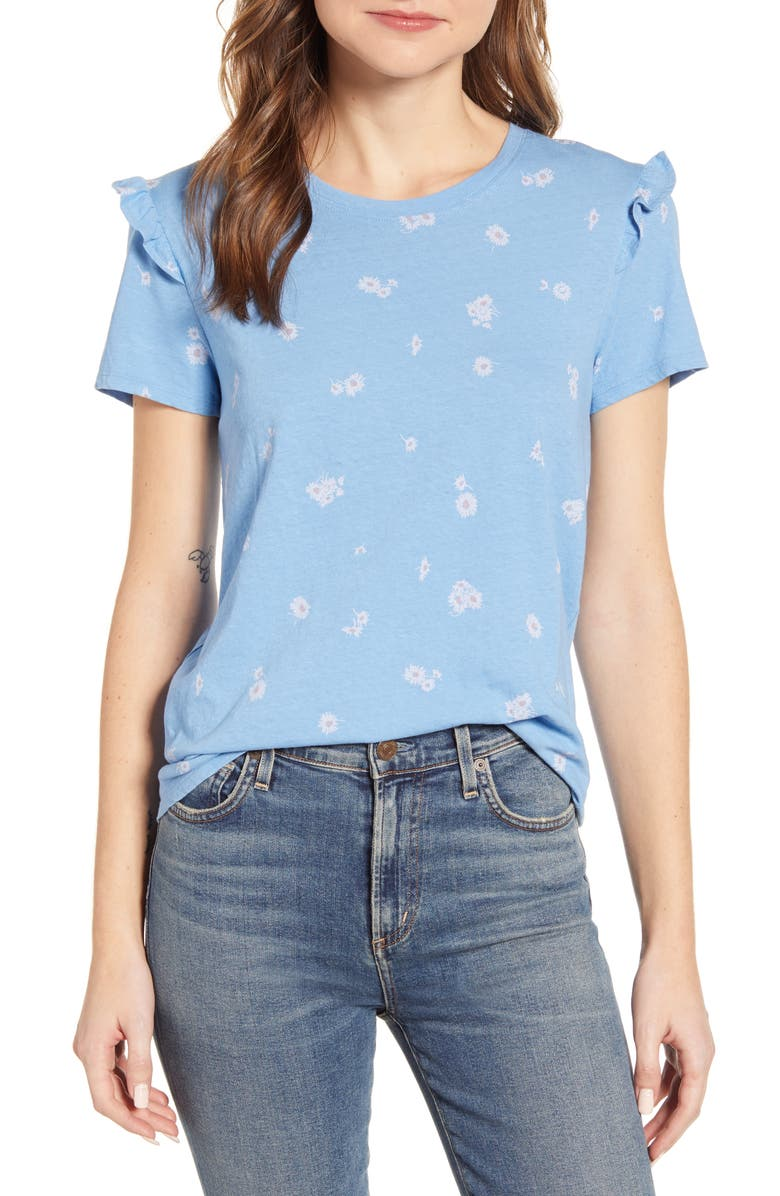 LUCKY BRAND Floral Ruffle Detail Cotton Top, Main, color, 460