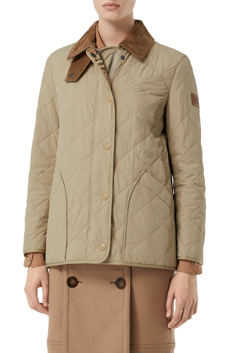 BURBERRY Cotswold Thermoregulated Quilted Barn Jacket, Main, color, HONEY