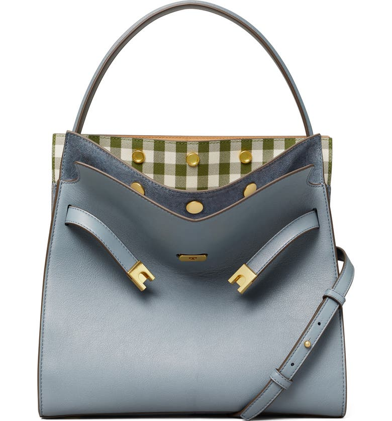 TORY BURCH Lee Radziwill Leather Double Bag, Main, color, BRUNNERA