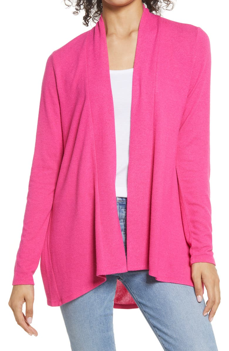 GIBSONLOOK Open Front Cardigan, Main, color, PINK YARROW