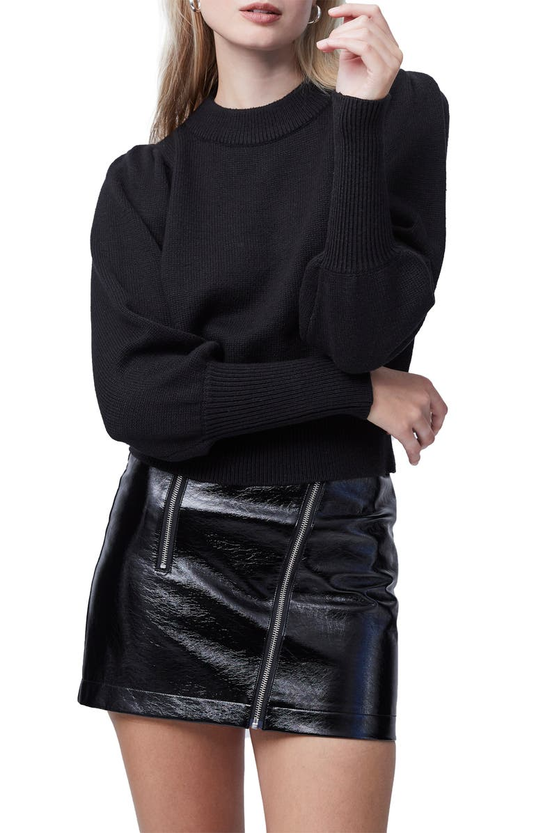 FRENCH CONNECTION Puff Sleeve Crop Sweater, Main, color, BLACK
