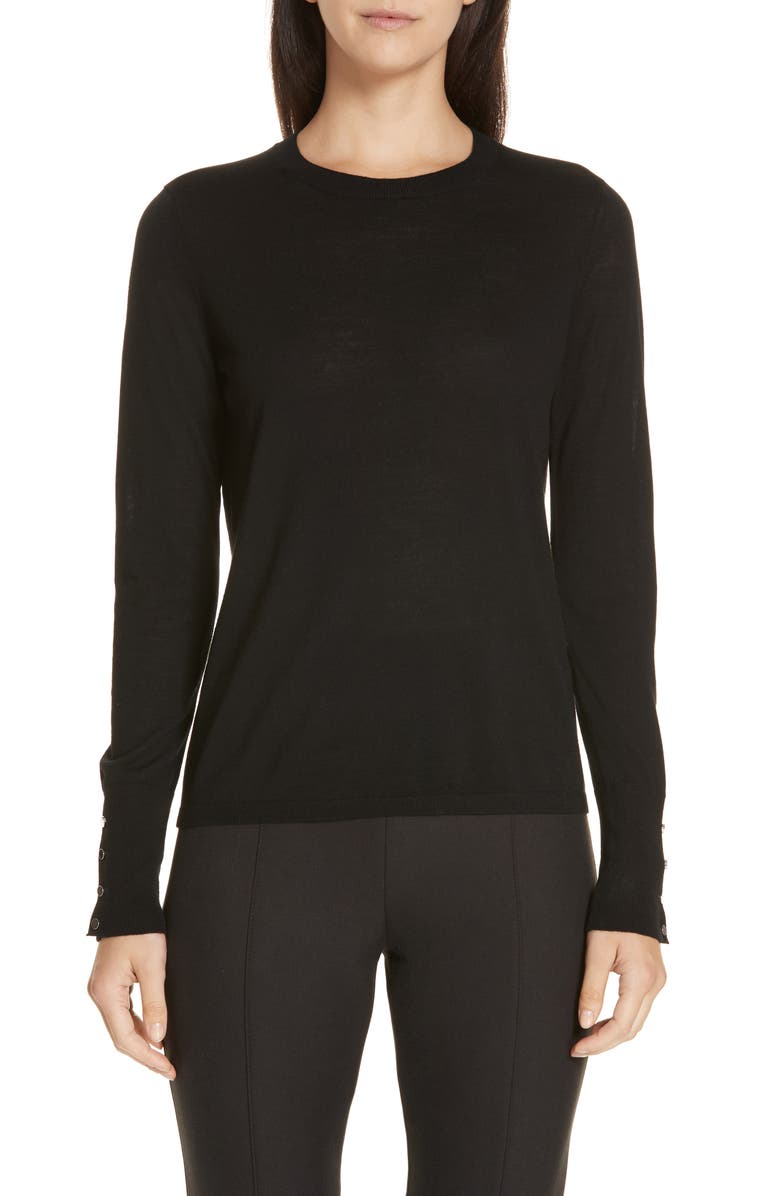 BOSS Frankie Cuff Detail Wool Sweater, Main, color, 001