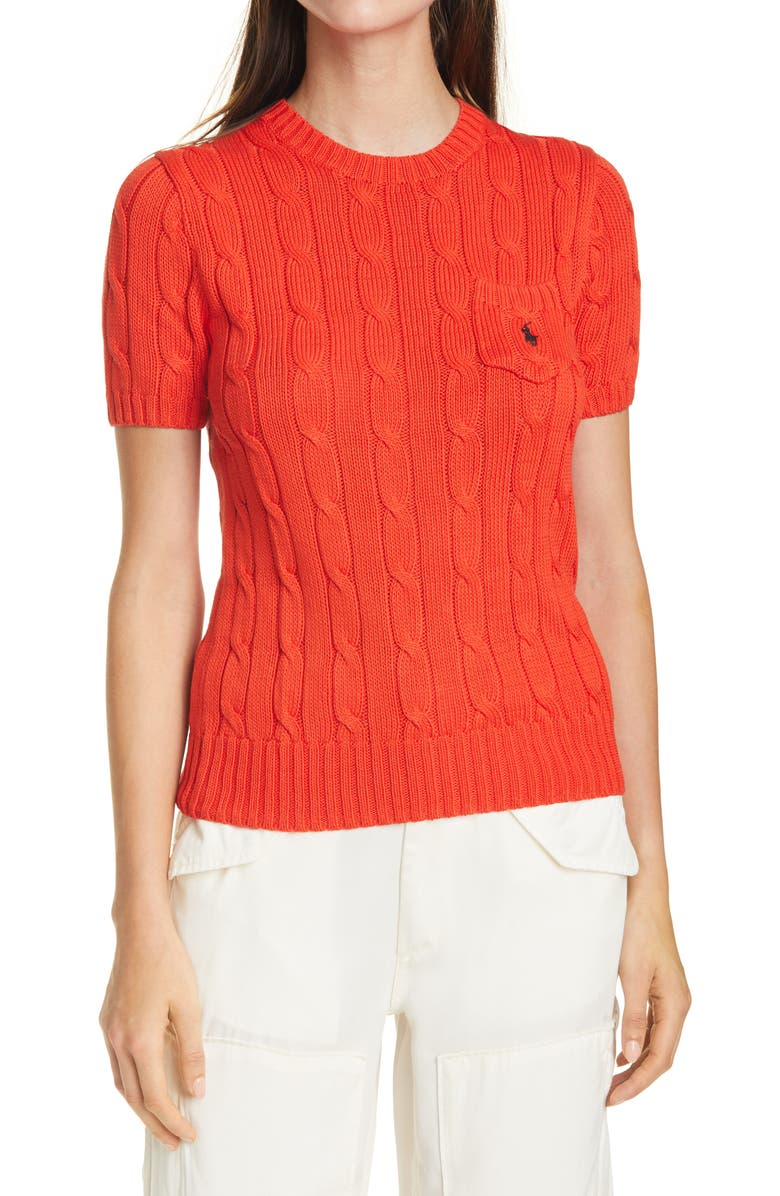 POLO RALPH LAUREN Classic Cable Knit Short Sleeve Sweater, Main, color, 600